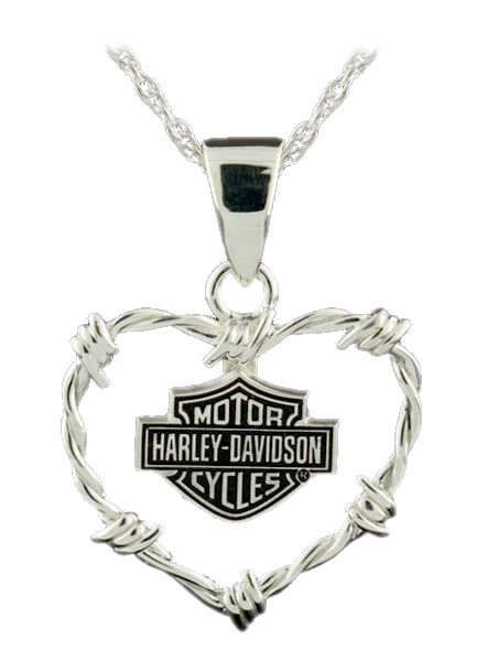 harley davidson jewelry for women | Harley-Davidson® Womens BS Barb Wire Heart Sterling Silver Necklace ...