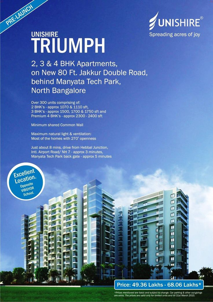 Unishire Triumph is a New Pre-Launch project from Unishire Group, situated at Jakkur,Hebbal Bangalore.It has 2 BHK and 3 BHK apartments with premium specifications and world-class amenities.