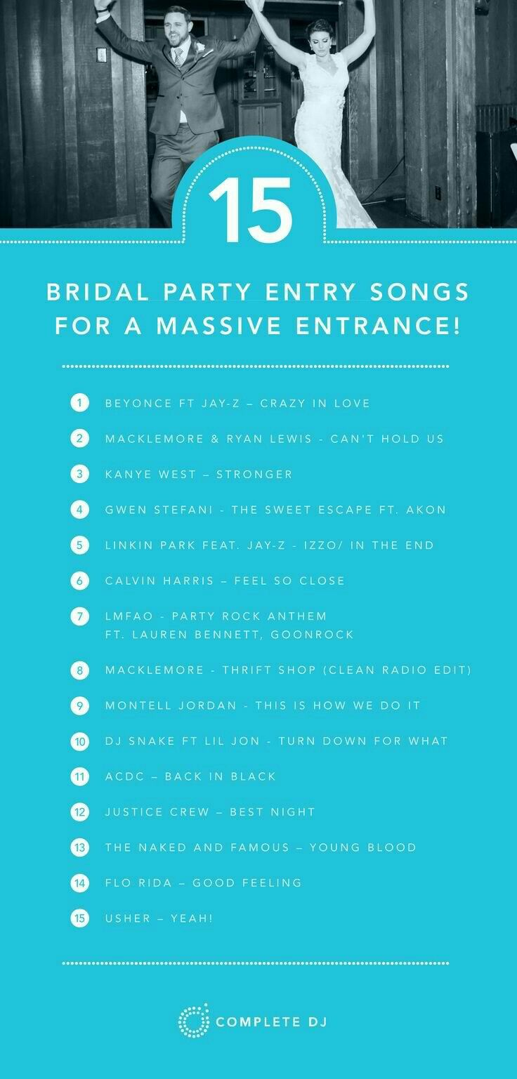 15 Songs For A Massive Bridal Party Entrance Into Your Wedding Reception Heres Some Ideas To Start The Night Off With Fun Atmosphere And Get Everyone