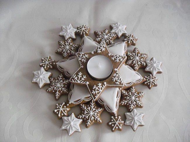 Mezcolanza Las Estrellas. Gingerbread Snowflake Cnadle Holder  #Gingerbread