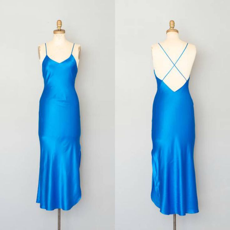 Vintage 1980's Electric Blue Silk Slip Dress by concettascloset on Etsy https://www.etsy.com/listing/519675509/vintage-1980s-electric-blue-silk-slip