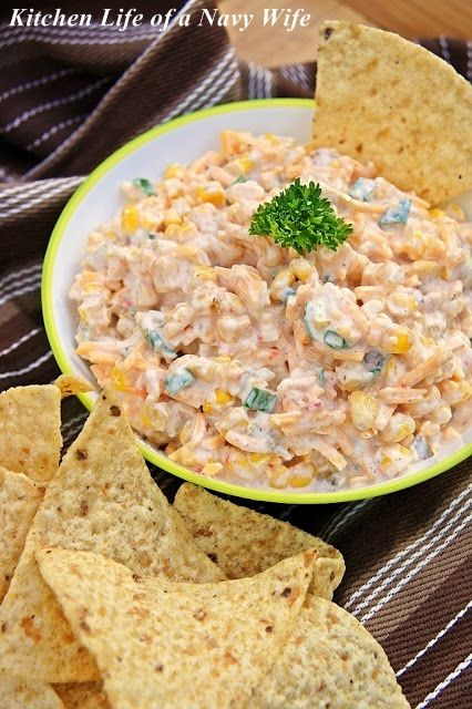 Cowboy Corn Dip: This is FANTASTIC! Makes a ton though. Made some switches: Instead of the canned corn, I used 2--16 oz bags of frozen corn & added 2 TB of chopped red peppers, instead of sour cream, used non-fat Greek yogurt, and used light mayo.