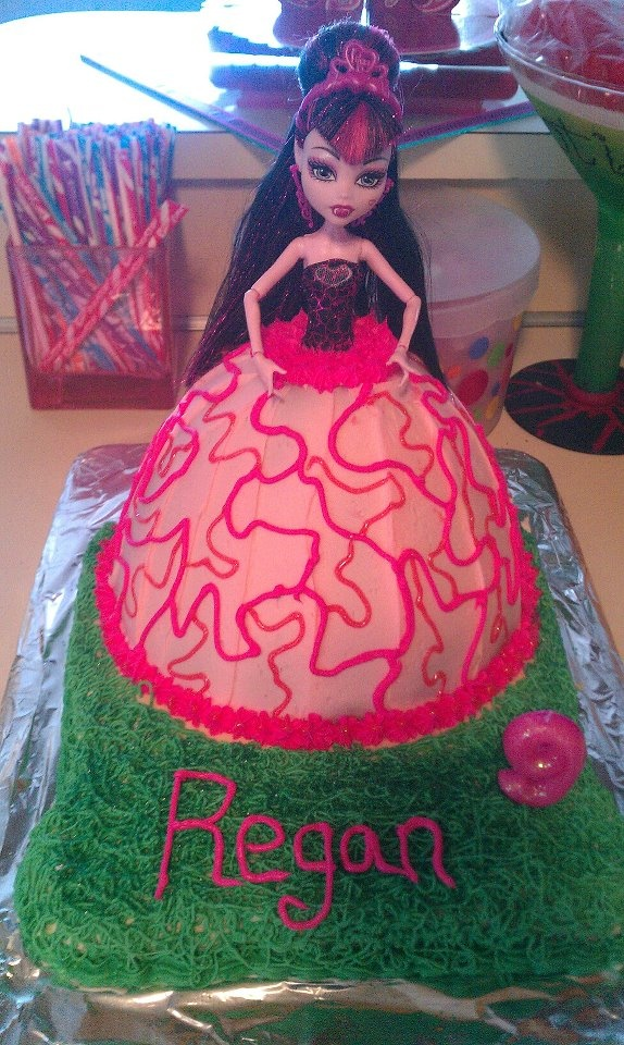 monster high cake= Alyssa wants me to make her another doll cake like when she was little but this time Monster High!