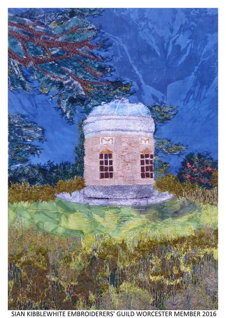 """Croome,The Rotunda"" by Sian Kibblewhite member of Embroiderers' Guild Worcester branch. Part of the Guild exhibition at Croome Park 11 April - 30 October 2016 showing work based on Capability Brown's design and the planting at Croome. Exhibition held as part of the UK's Capability Brown Festival"