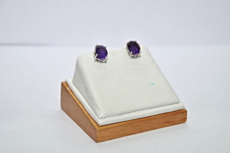 Real! Rare! Natural! Amethyst Top Purple 5.2 CT Oval 925 Solid Sterling Silver   #Handmade #Studs