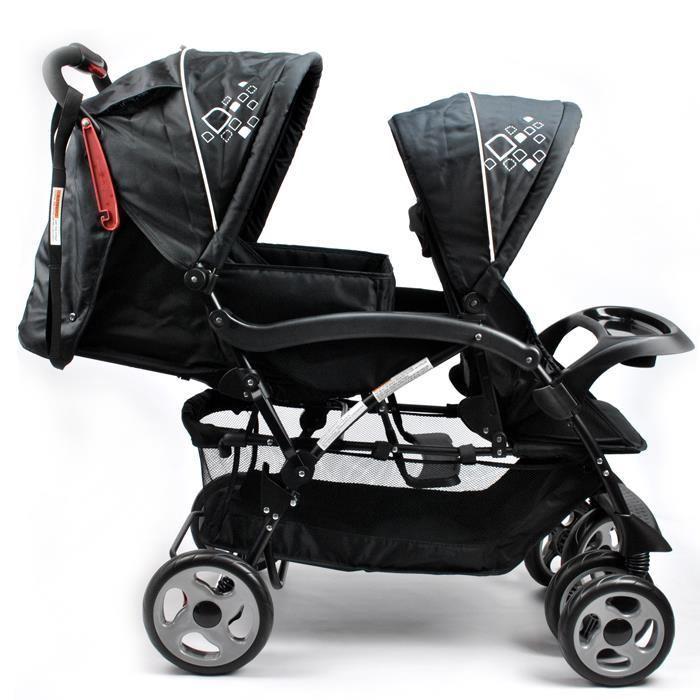 Deluxe Hi-Rise Tandem Double Baby Pram in Black | Buy Prams & Strollers