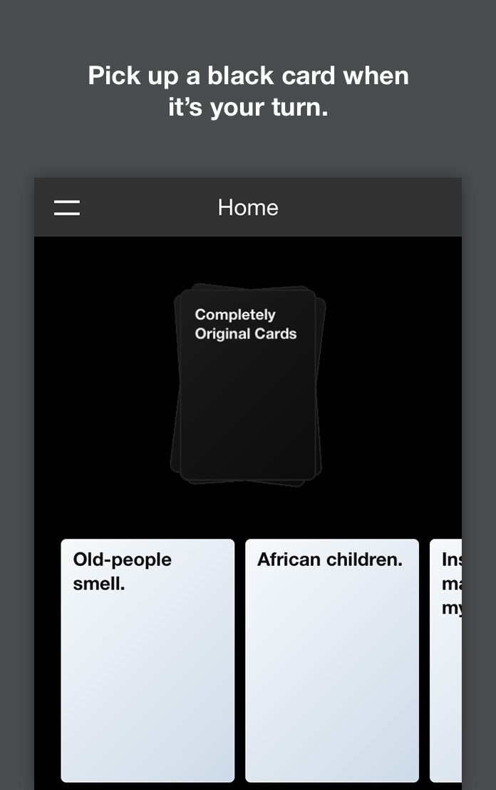 Cards Against Originality, an online app for Cards Against Humanity.