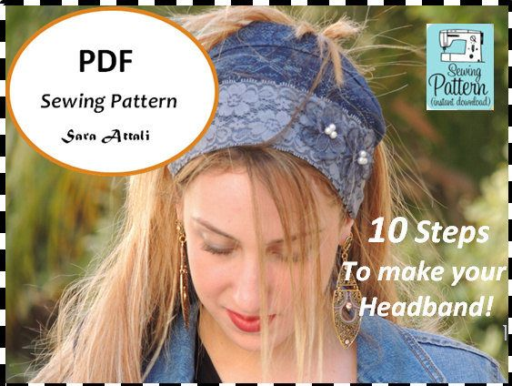 Denim Headband PATTERN How To Sew Your Ruffle Bandana Pattern Hair Snood Head Covering PATTERN Jewish Headcovering Scarf Bandana Apron http://etsy.me/2EBXz3V #supplies #hatmakinghaircrafts #jewishhaircovering #tich