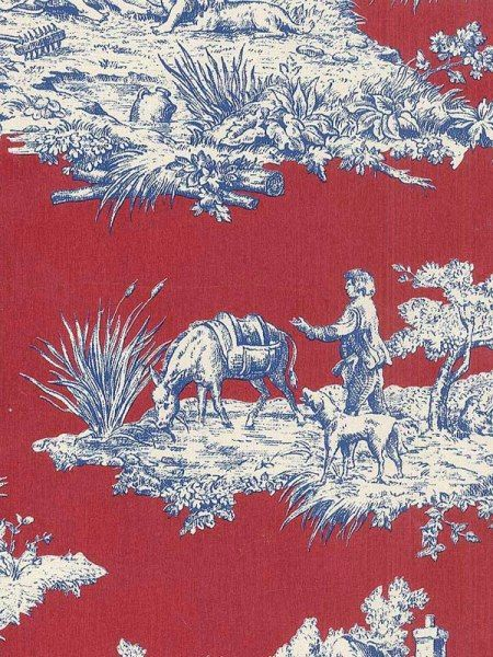 Blue and White on Red Victorian Toile Wallpaper T742497