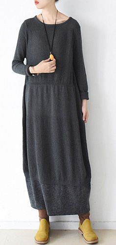 Cute Sweater weather plus size o neck baggy dresses dark gray daily knit  dress 4e611d003
