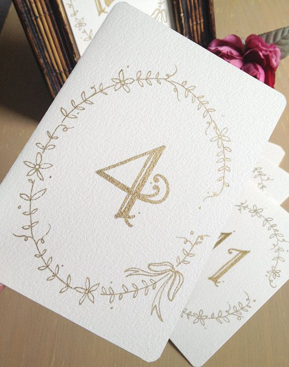 Wedding Calligraphy Number Cards with Vine and Flower Garland - Gold Metallic ink via Etsy