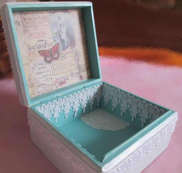 White wooden box with patina, decorating scrapbook paper and lace, paper flowers, resin and metal ornaments...