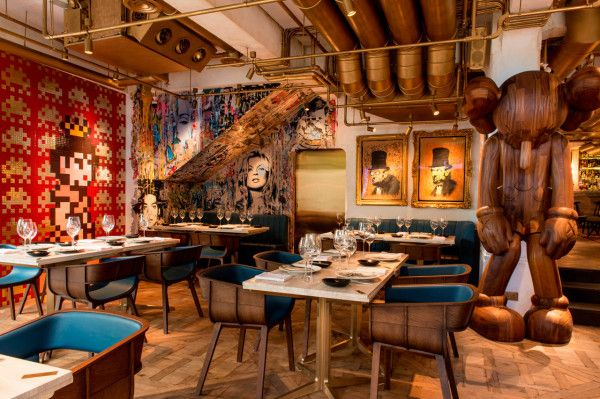 A French Fine Dining Restaurant with a Bohemian Twist in main interior design architecture  Category