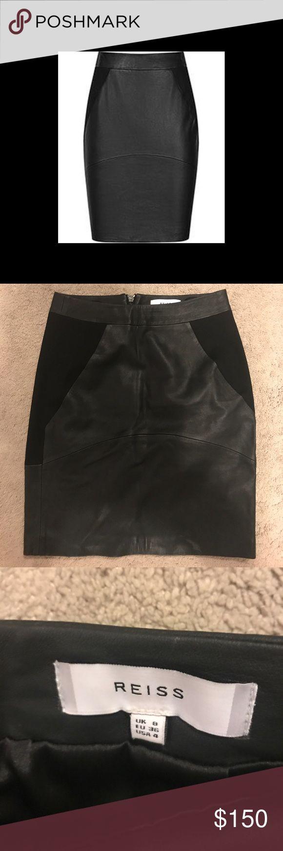 Reiss Black leather / fabric mix skirt Fabulous Reiss Black Leather/stretch fabric mix skirt! US size 4. Never worn. Reiss Skirts Mini