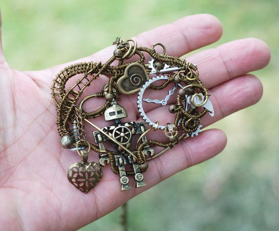 Steampunk Robot Necklace I Love Robot Wire by jeanninehandmade