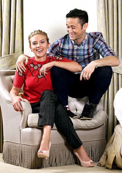 Scarlett Johansson giggled at an NYC event with her Don Jon costar/director Joseph Gordon-Levitt