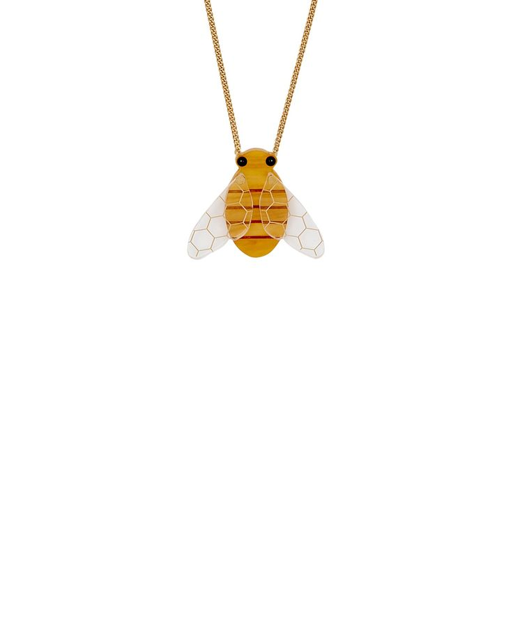 Honey Bee Necklace - Be the queen bee with the Honey Bee Necklace. Laser cut in honey acrylic, this sweet necklace is detailed with hand inked stripes, black cabochon eyes and and movable honeycomb patterned wings.