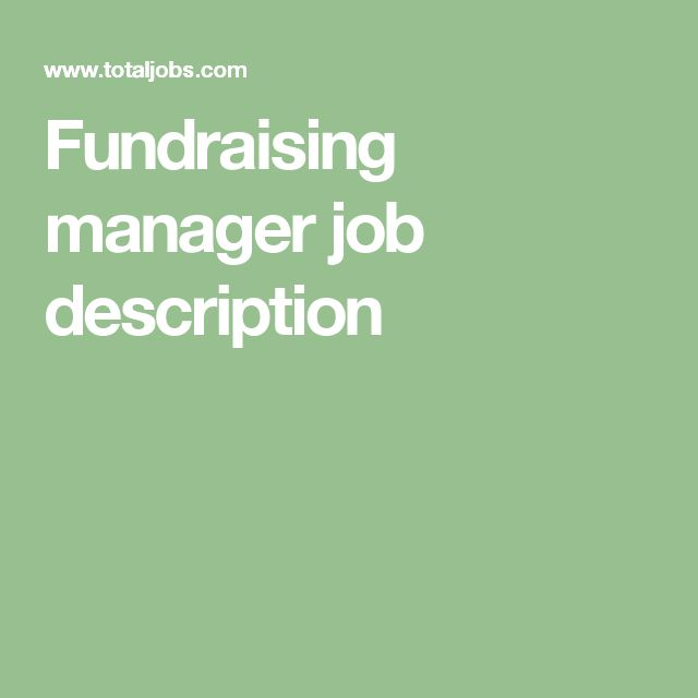 Fundraising manager job description