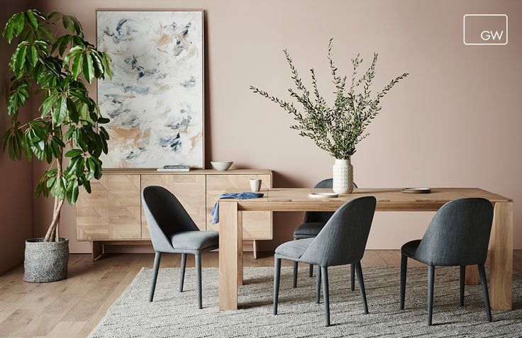 Featuring: Aiden buffet, Aiden dining table, Aura arrow rug & Millie dining chairs  Styling: Ruth Welsby Photography: Lisa Chohen  Paint: Nutmeg by Haymes