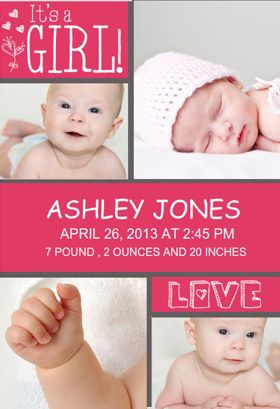 free printable birth announcement template