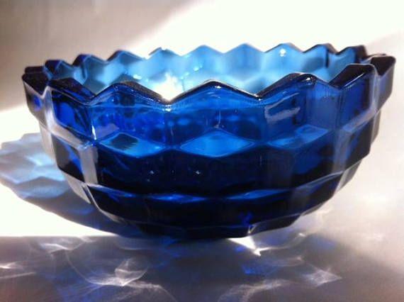 Vintage Cobalt Blue Ornamental Glass Bowl Small Blue Cobalt