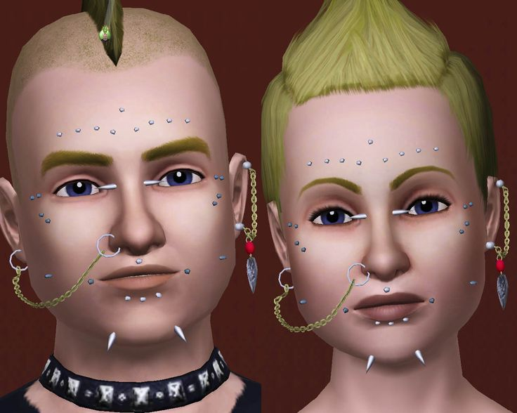 Mod The Sims - Pack of facial piercings plus two chain earrings