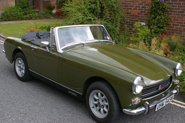 We're loving this MG Midget in rare 'trundra green' (great colour name!) and tan/biscuit interior - very tasty.