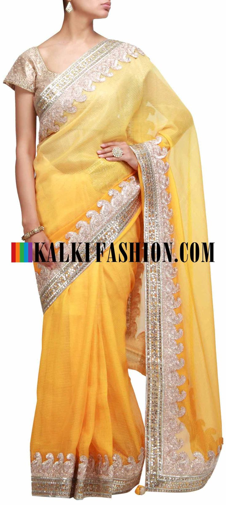 Buy Online from the link below. We ship worldwide (Free Shipping over US$100) http://www.kalkifashion.com/yellow-shaded-saree-with-gotta-patti-embroidery.html Yellow shaded saree with gotta patti embroidery
