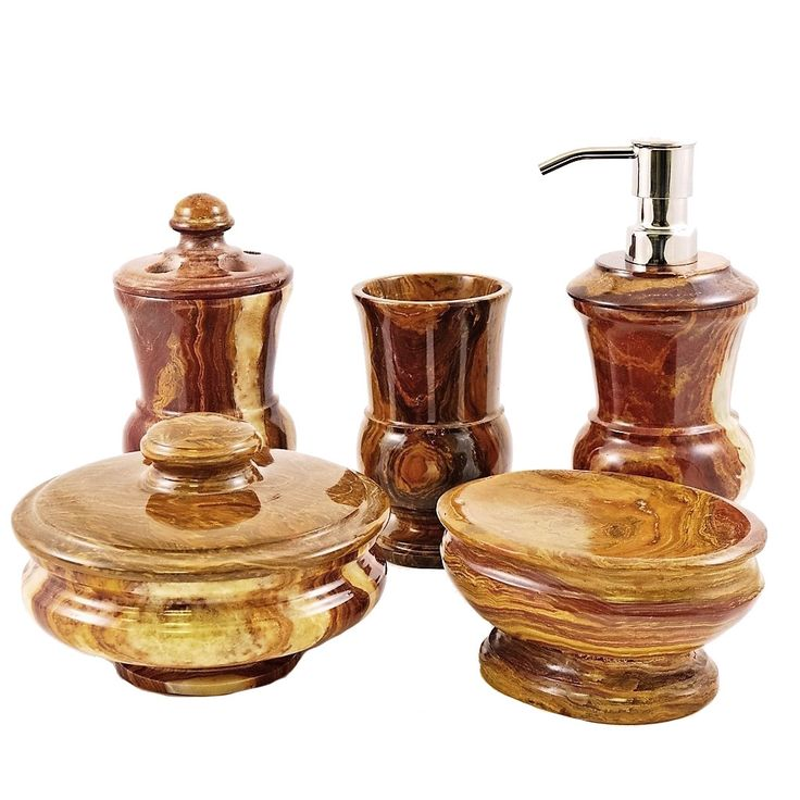 Home Decor Mediterranean Collection multi onyx 5-Piece Bathroom Accessory Set