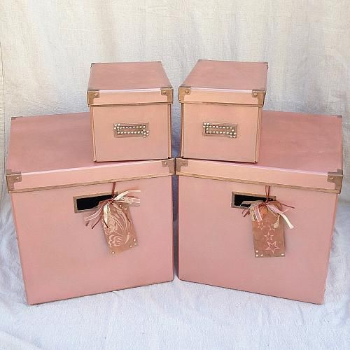 Classic Rose Gold Storage Bins -- Upcycle old storage containers into a classic look.  #decoartprojects