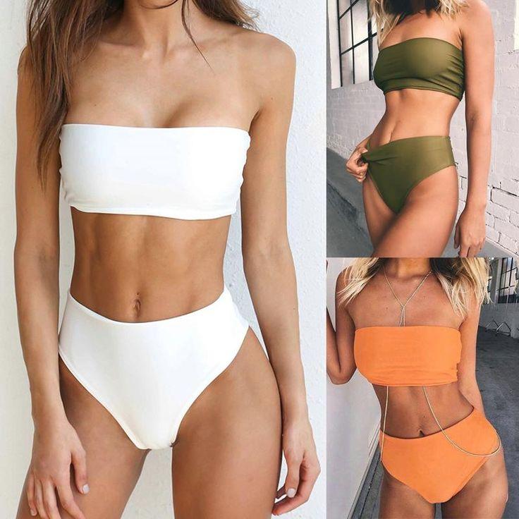 Hot Summer Bandeau High Waist Bikini Swimsuit