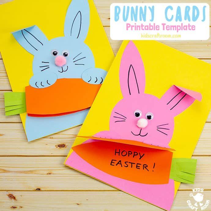 Carrot Nibbling Easter Bunny Cards Easter Cards Handmade Easter Kids Diy Easter Cards