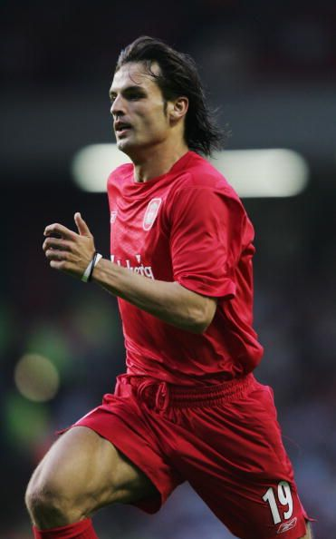 Fernando Morientes of Liverpool in action during the UEFA Champions League first qualifying round first leg match between Liverpool and TNS at...