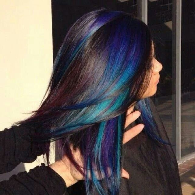 Love these darker shades of teal blue and purple- PERFECT peekaboo highlights. Could change it to other colours too