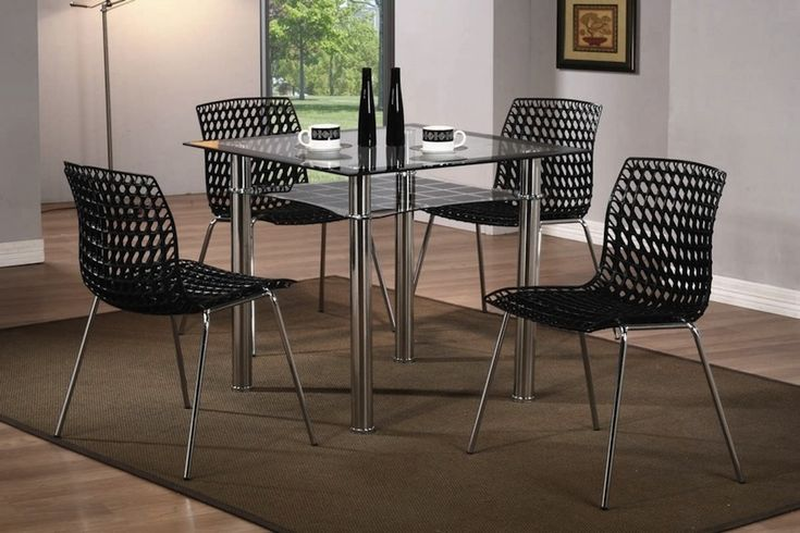 Square Glass Dining Table, Small Black Dining Table And 4 Chairs