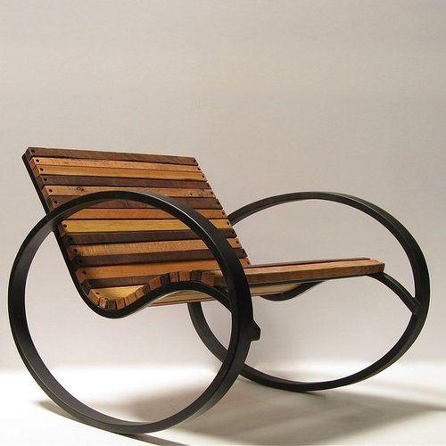 Sessel Schaukelstuhl Holz Stahl