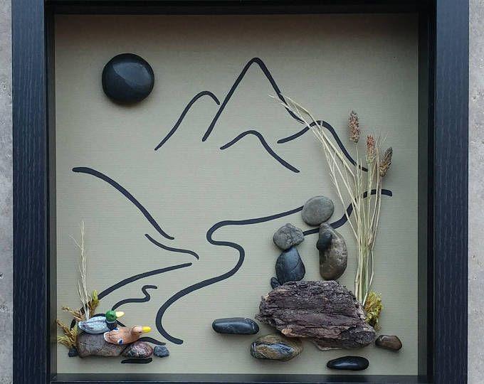 Art, Art rupestre, galet Art père et chien de galets, avec deux canards, plein air, montagne, chasse, 9 x 9 x 2 shadowbox (livraison gratuite)