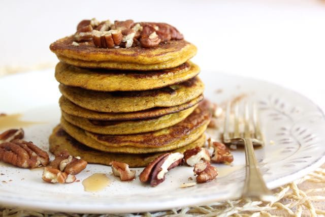 Pumpkin Pancakes - pumpkin puree, eggs, unsweetened nut butter(might reduce), coconut flour, ground vanilla powder/extract, cinnamon, sea salt, coconut/other oil (for frying), toppings of choice (e.g. maple syrup, cinnamon, nut butter, chopped pecans, sliced almonds, fresh berries, fresh banana slices)