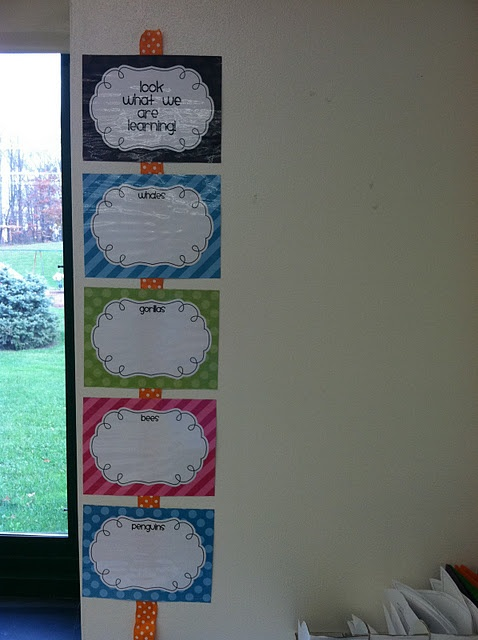 great idea for posting learning objectives...thinking scrapbook paper centered around classroom theme...