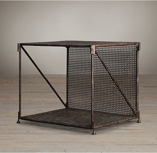 RH's 1920s French Metal Side Table:Our reproduction of a 1920s French design recreates the openness, flexibility and freedom of the original modular furnishings – along with the modern mood of that era. Designed to function as a side table or shelving, each cube is framed in metal wrapped openwork metal cane.
