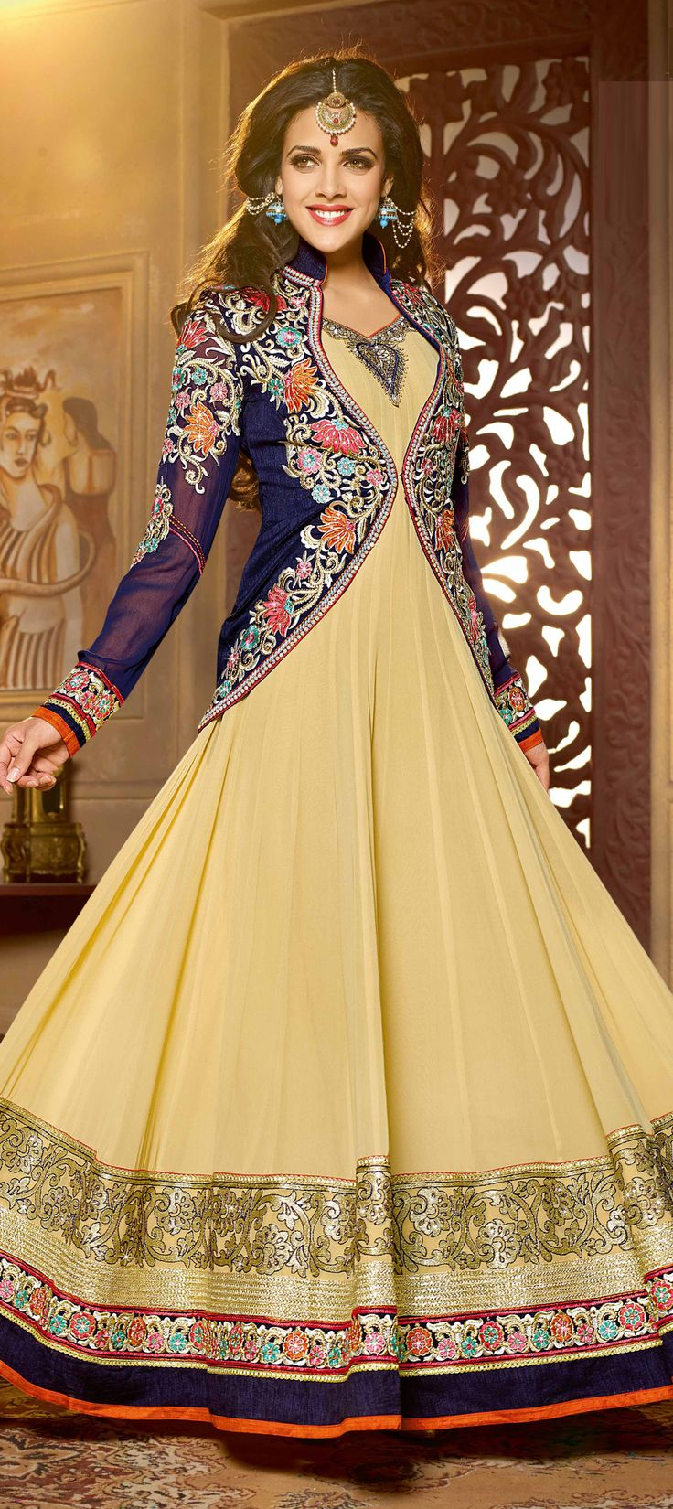 427771: Beige and Brown color family semi-stiched Anarkali Suits.