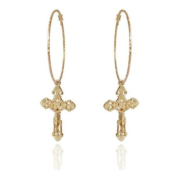 ULTRA HONEY EARRINGS ($167) ❤ liked on Polyvore featuring jewelry, earrings, accessories, cross jewelry, gold jewelry, gold hoop earrings, earring jewelry and hoop earrings