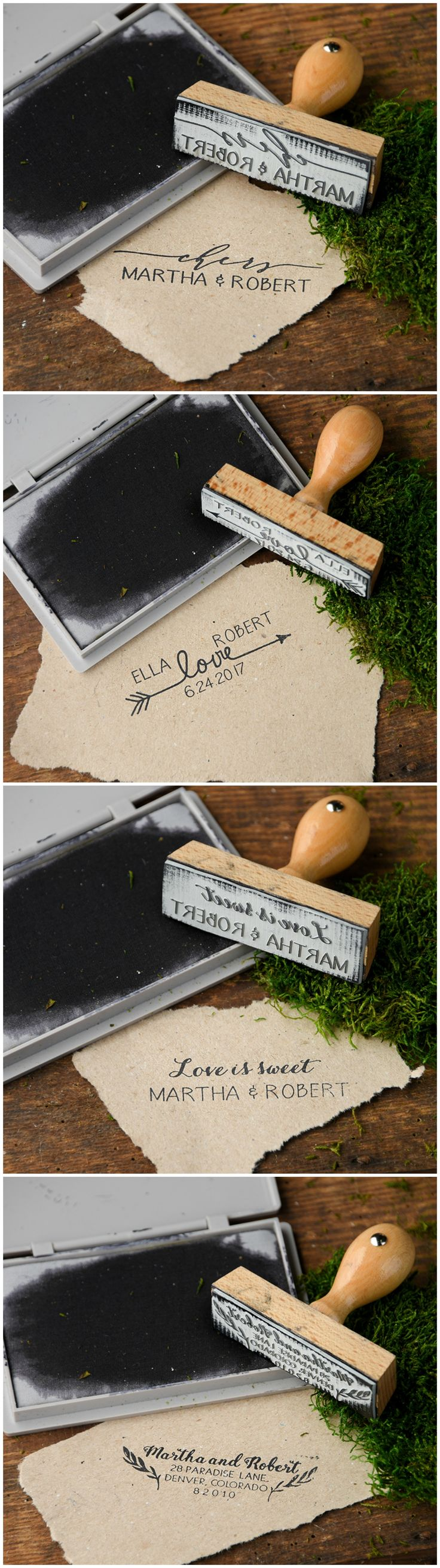 Custom Wooden Wedding Stamps - personalize them with your names and wedding date ! #weddingideas #woodenstamps #stamp #wood #rustic #unique #lovely