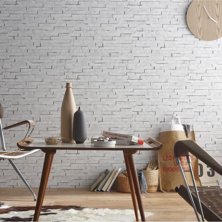 Papier peint intissé Craie briquettes blanc: #brique #fauxsemblant #chic.