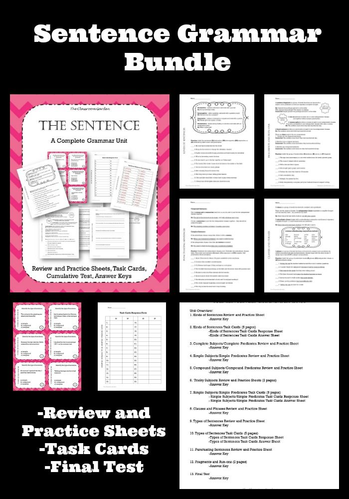 Sentence Unit Grammar Bundle - Review and Practice Sheets, 3 Sets of Task Cards, and a Final Test!!!