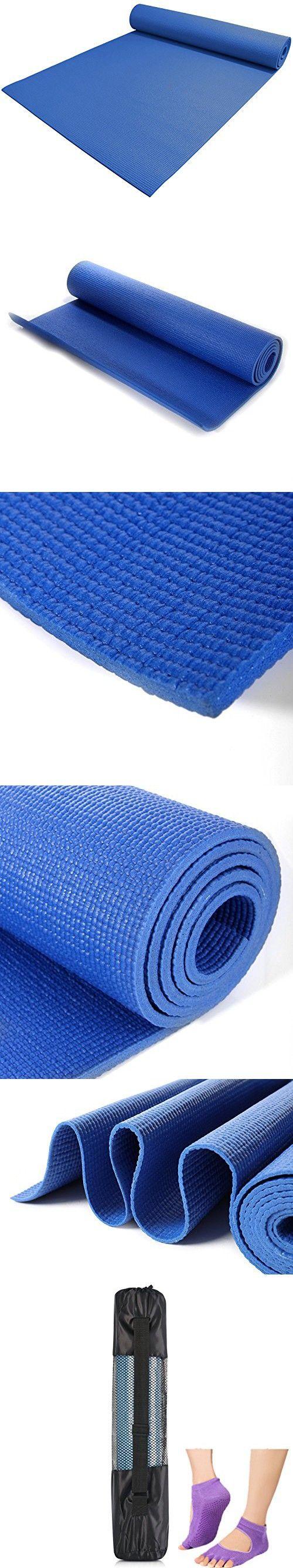 Love-Yoga Exercise Yoga Mat(Pilates Mat) ,Eco Friendly, Biodegradable, Anti Slip, Anti Bacterial, Non Toxic, Non Smelly (Blue, 1/4 Inch)