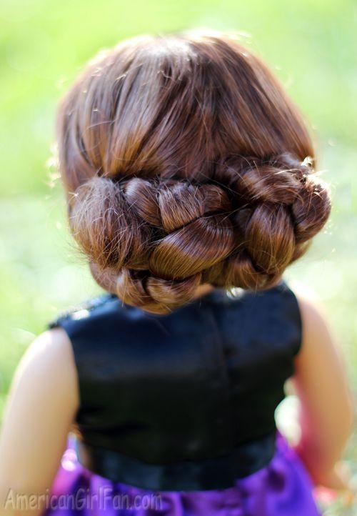 Doll Hairstyle: Fancy Braided Bun Updo! - http://www.americangirlfan.com/2014/12/american-girl-doll-hairstyle-braided-bun-updo.html