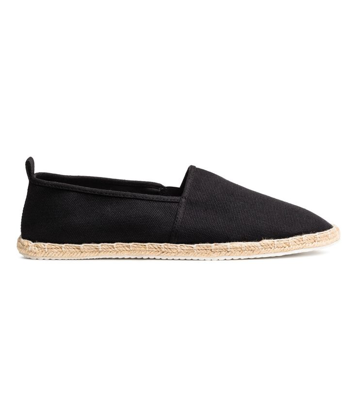 Check this out! Espadrilles in canvas with elastic gores in the sides, a loop at the back and a braided jute trim around the soles. Cotton canvas linings and insoles and rubber soles. - Visit hm.com to see more.
