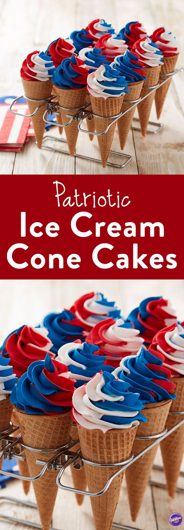 Red, White & Blue Ice Cream Cone Cakes - Here's a sweet alternate version to cupcakes-- ice cream cone cakes! Using the Color Swirl tri-color coupler, add swirls of red, white and blue icing and your patriotic treat is complete! These cake cones are the perfect 4th of July dessert treats or serve at kids' parties —easy to hold and eat!