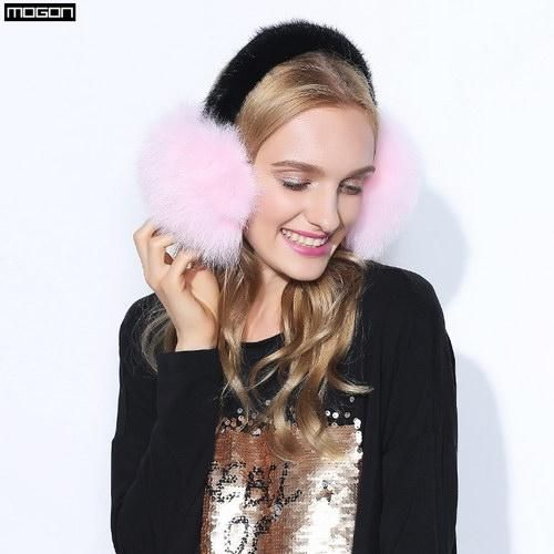 FuzWeb:Cache Oreille Rushed 2017 Fashion Trend Winter Full Leather Natural Fox Fur Ear Muffs Thermal Girl Women's Earmuffs Package,pink